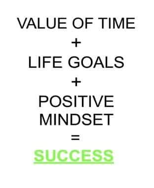 text value of time + life goals + positive mindset = success