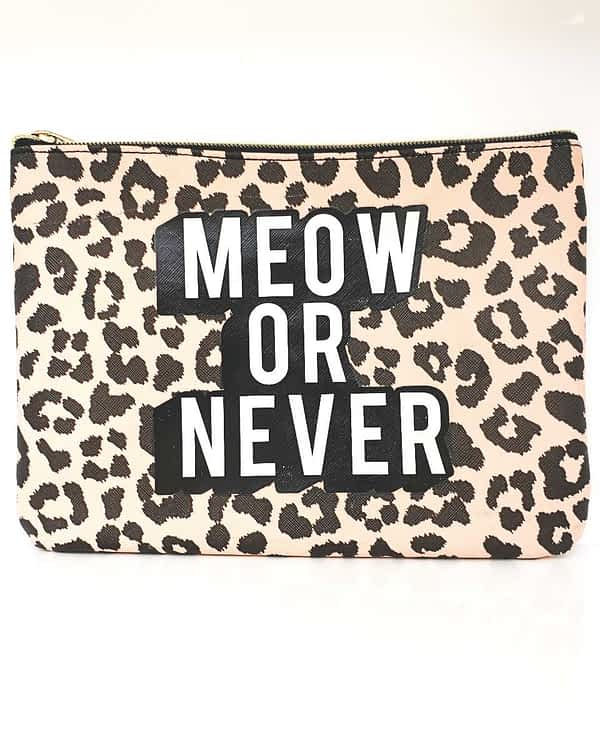 meow or never makeup pouch